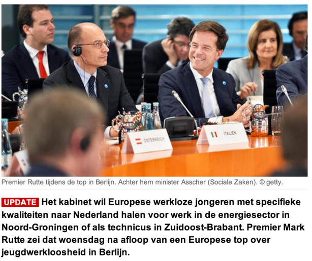 Rutte: werkloze jongeren naar Nederland halen
