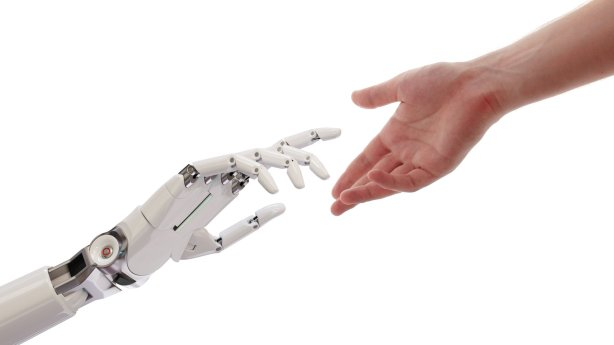 ://www.dreamstime.com/stock-photos-human-robot-hands-reaching-ar
